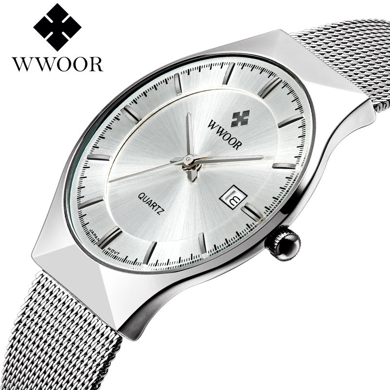 WWOOR New Top Luxury Watch Men Brand Men's Watches Ultra <font><b>Thin</b></font> Stainless Steel Mesh Band Quartz Wristwatch Fashion casual watches
