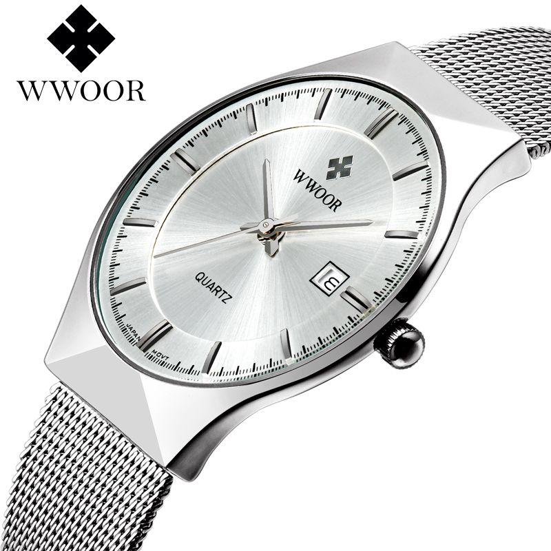 Wwoor новый топ роскошные часы Для мужчин бренд Мужские часы ультра тонкий Нержавеющаясталь сетки Группа Кварцевые наручные часы Мода Повсе...