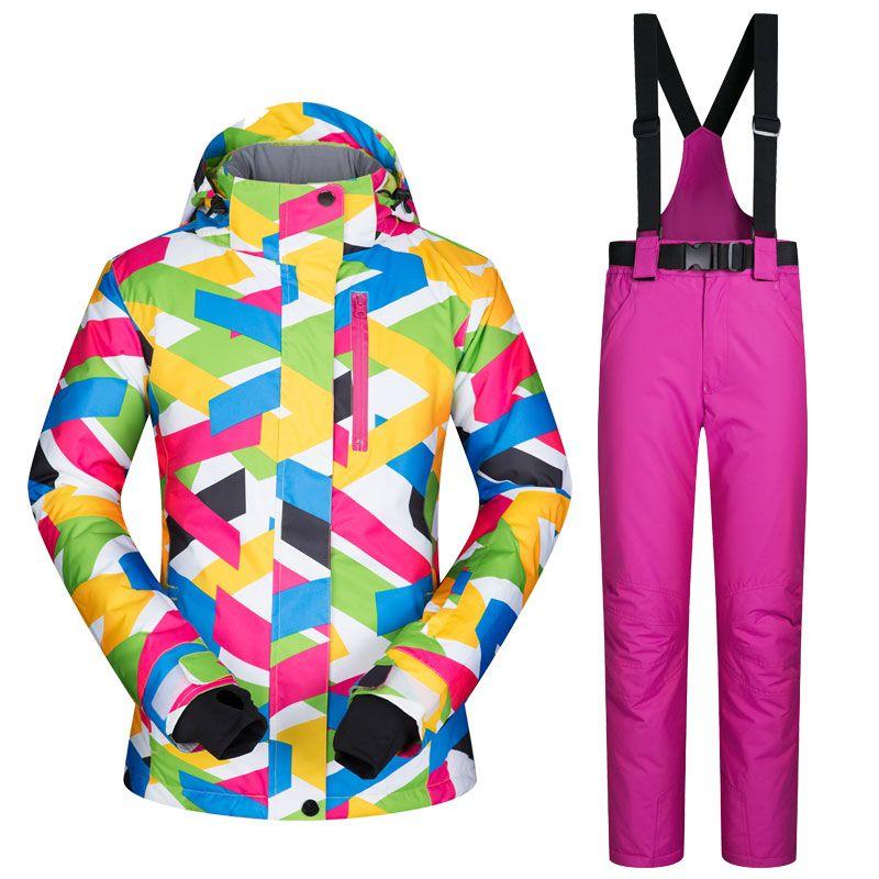 Новинка 2017 года Высокое качество Для женщин лыжный костюм женский Куртка для снежной погоды и Брюки для девочек ветрозащитный Водонепрониц...