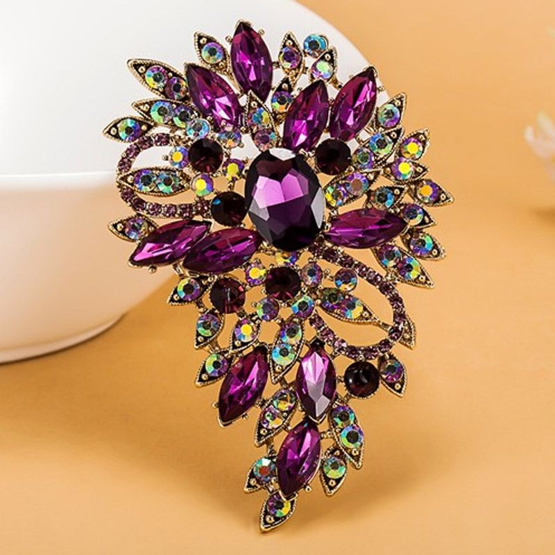 Luxurious champagne Stars Purple Brooch Bouquet Shiny Brand Austrian Crystal Hijab Pins And Broaches Very Nice Christmas Broches