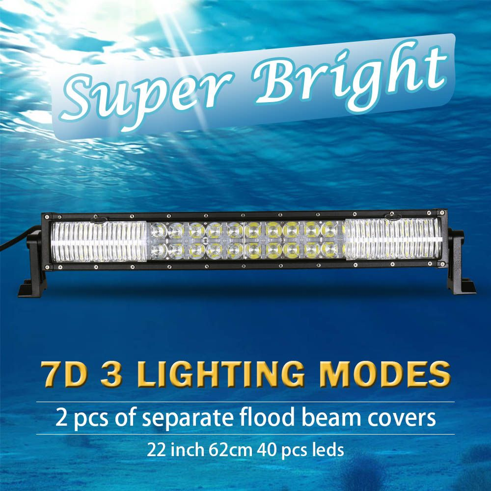 22 inch 7D Curved LED Bar with DRL LED Work Light Bar for Tractor OffRoad 4WD 4x4 Truck SUV ATV 12V 24v LED Light Bar