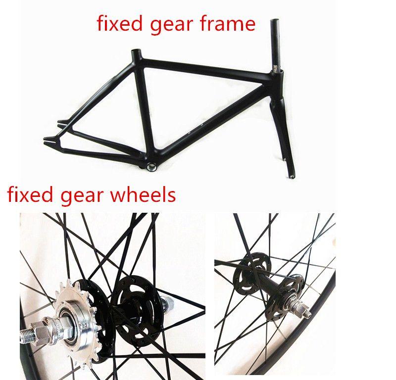 Freies verschiffen 700C carbon festrad rahmen und fixed gear räder track bikes rahmen festrad bicychle räder und gabel set