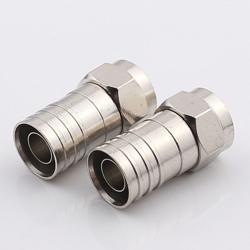 British F Plug Cable Connector Ferrules 75-5F Copper Jack Waterproof Double-shielded Wire Crimp -5