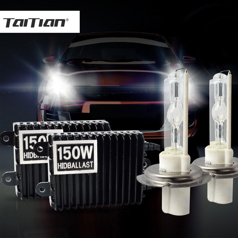 Taitian 2Pcs 150W Halogen Xenon Foglights bulb h11 h1 Hid 12V h7 Car lamp ballast h4 bi xenon projector kit H3 9005 HB3 9006 HB4