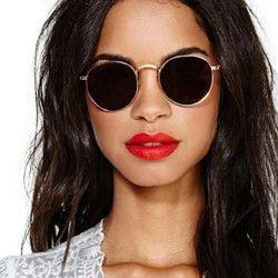 2018 ronda Retro gafas de sol mujer marca diseñador gafas de sol para las mujeres aleación espejo gafas de sol mujer oculos de sol