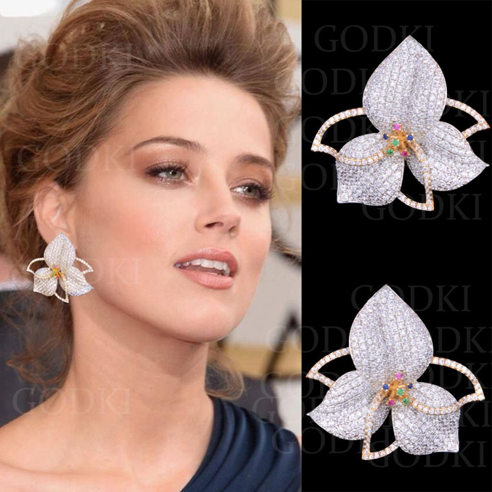 GODKI Elegant Leaf Flowers Multicolor Cubic Zirconia Pave Women Engagment Night Out Party Anniversary Dress Up Earring