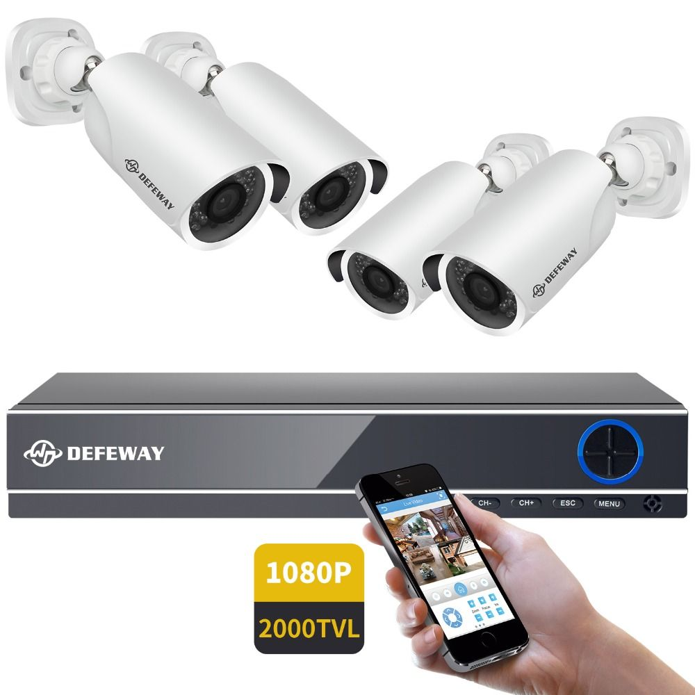 DEFEWAY 1080P HDMI DVR 2000TVL HD Outdoor Home Security Camera <font><b>System</b></font> 4CH CCTV Video Surveillance DVR Kit AHD 4 Camera Set New