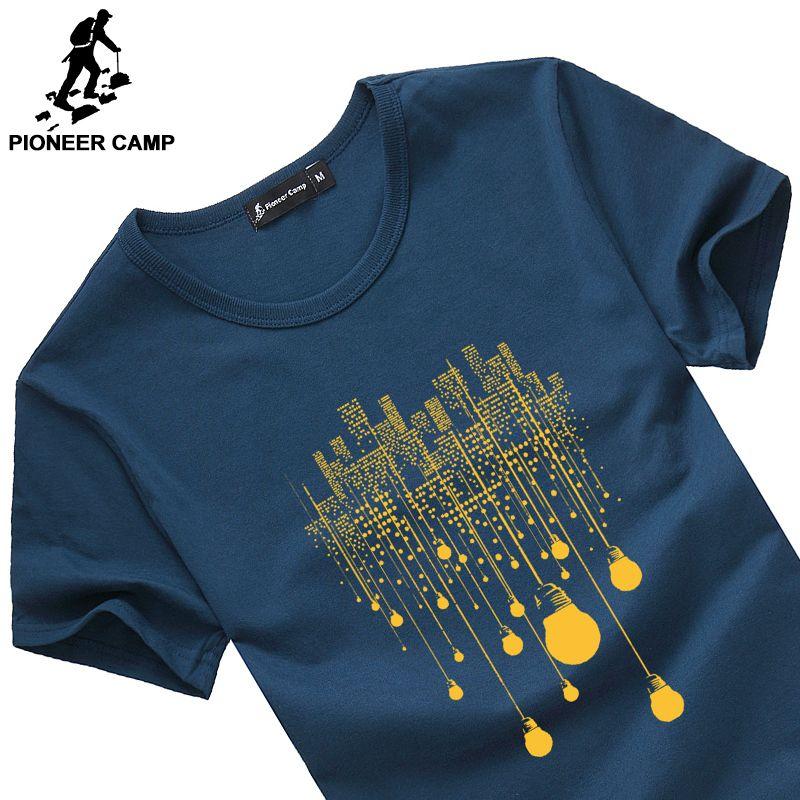 Pioneer Camp fashion summer short t shirt men brand clothing cotton <font><b>comfortable</b></font> male t-shirt print tshirt men clothing 522056