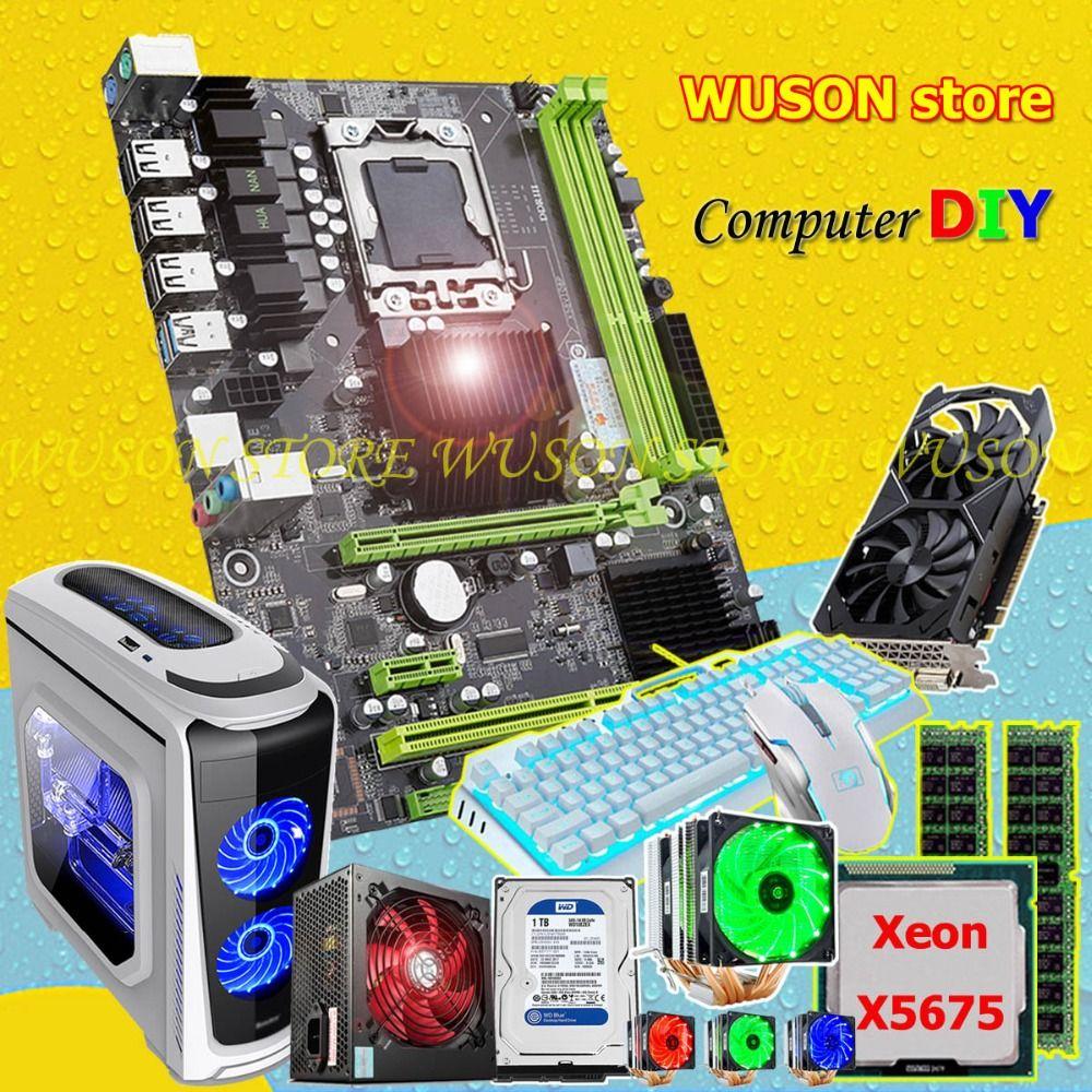 HUANAN ZHI X58 motherboard bundle CPU Xeon X5675 with cooler RAM 16G RECC 500Watt PSU GPU GTX1050Ti video card 1TB SATA3.0 HDD