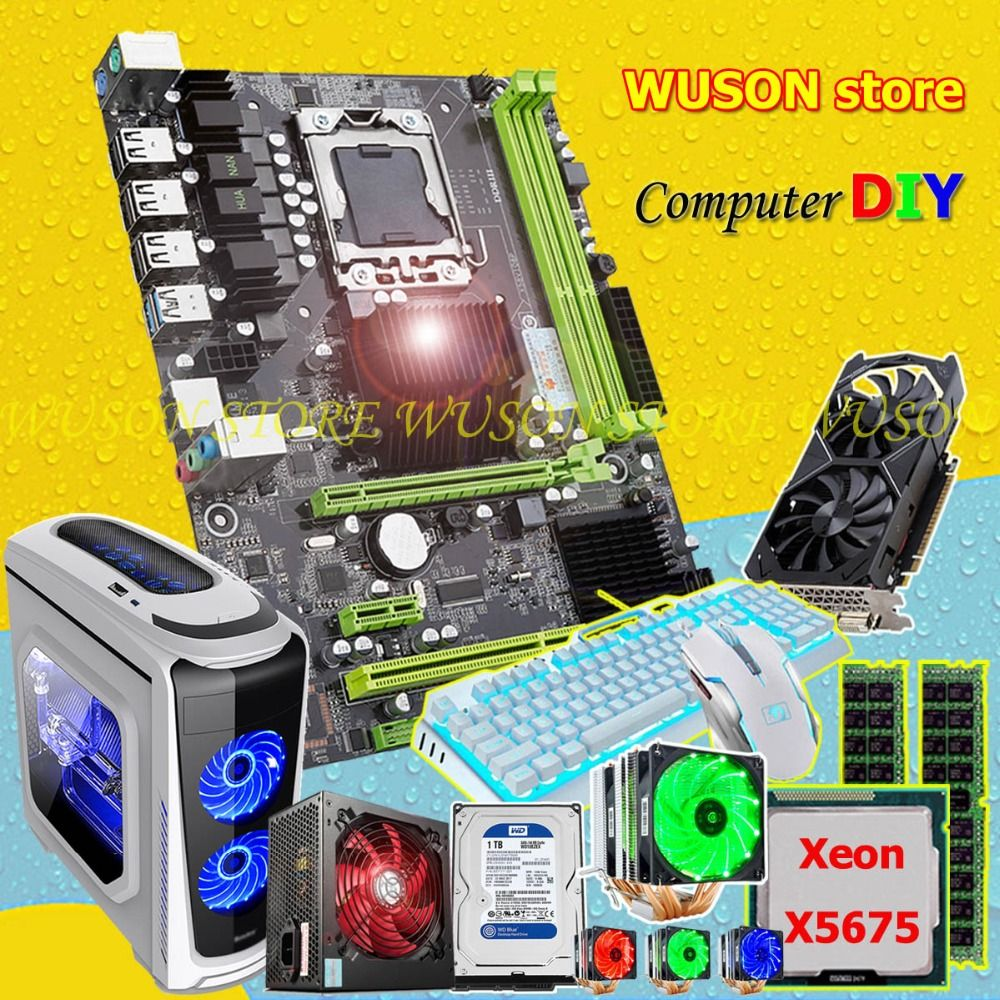 HUANAN ZHI X58 motherboard bundle CPU Xeon X5675 with cooler RAM 16G RECC 500Watt PSU GPU GTX1050Ti video card 1TB SATA3.0 HDD