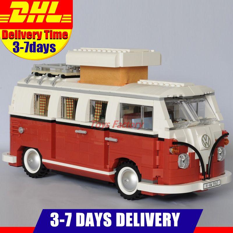 2018 New LEPIN 21001 1354Pcs Technic Series Volkswagen T1 Camper Van Model Building Kits Set Bricks Toys Compatible 10220
