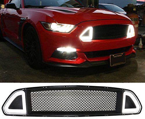 1 Piece DF001 15-17 F ord Mustang DRL LED Front Grille Hood Bumper Mesh Grill auto products Lantsun
