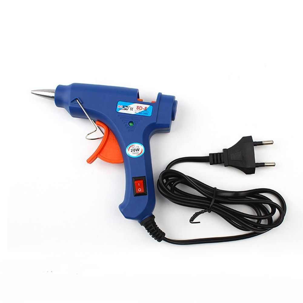 100-220V High Temp Heater Melt Hot Glue Gun 20W Repair Tool Heat Gun Blue Mini Gun With Trigger US/EU plug