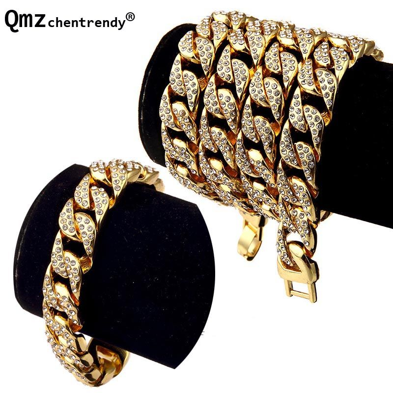 Hip Hop <font><b>Bling</b></font> Fully Iced Out Mens Electroplated Miami Cuban Link Chain Necklace Bracelet Simulated Gemstone Hipster Jewelry set