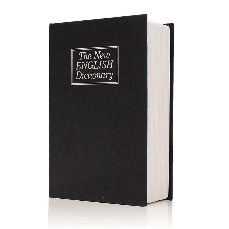 Metal + Paper Plate Dictionary Book Secret Hidden Security Safe Key Lock Cash Money Jewellery Locker Durable Quality