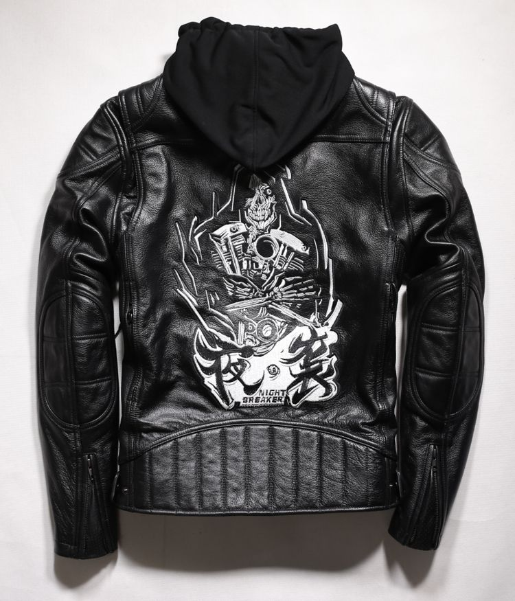 Free shipping.2017 Cool Brand man style skull leather Eur plus size Jackets men's genuine Leather motorcycle biker jacket.