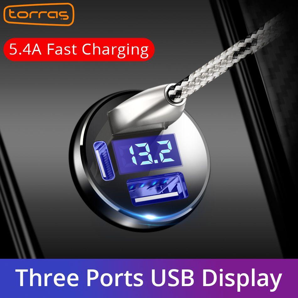 TORRAS Double USB Voiture Chargeur MAX 5 V 5.4A Métal Charge Rapide Chargeur De Voiture Universel Competiable Avec La Plupart Des Téléphones Rapide chargeur