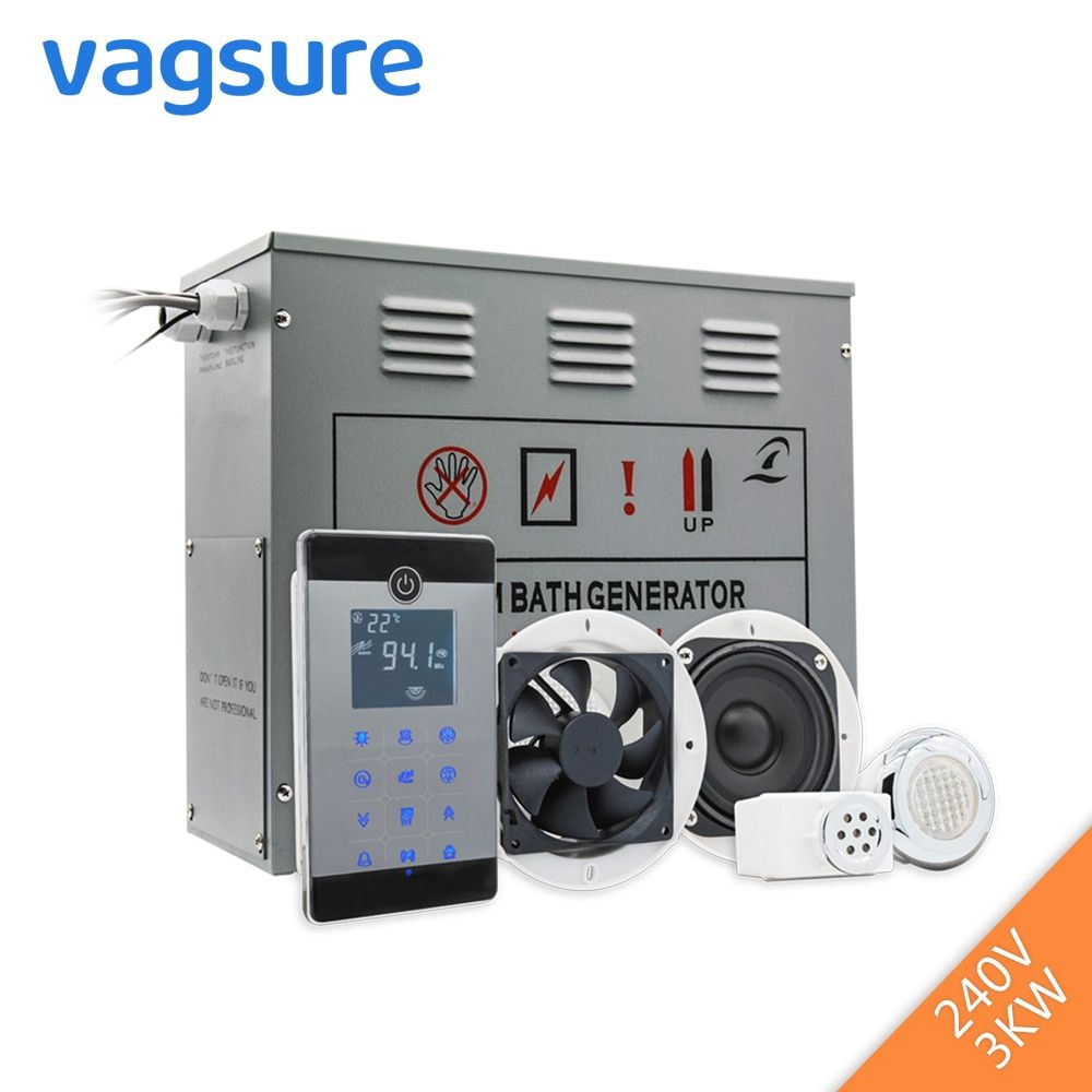 Power Supply 3KW 220-240V Small Wet Steam Bath Sauna Generator For Shower Spa With bluetooth Accessories Safety Valve Auto Drain