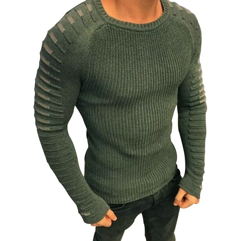 Winter Men Casual Warm Slim Sweater Knitted <font><b>Striped</b></font> Long Sleeve Patchwork Pullover Male Elastic Solid Sexy Spring Basic Tops