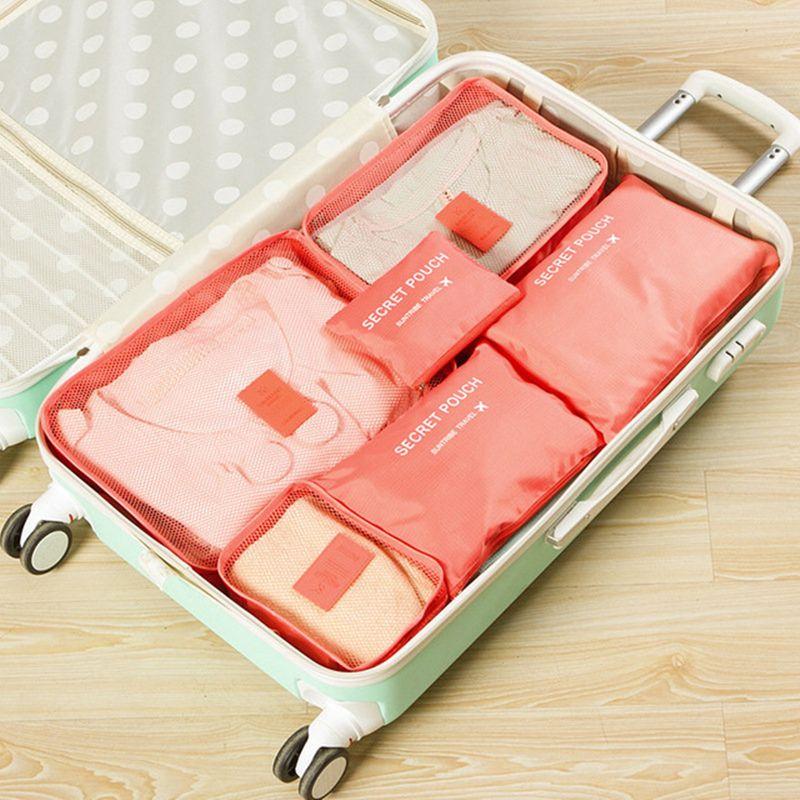 6 pièces/ensemble de haute qualité Oxford tissu voyage organisateur de bagages sac femmes hommes emballage Cube pour vêtements armoire valise ranger pochette