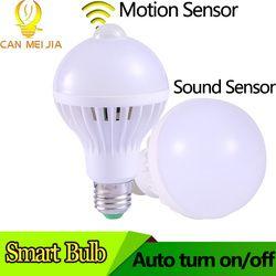 E27 lâmpada com Sensor De Movimento do DIODO EMISSOR de Luz Da Lâmpada 3 W 5 W 7 W 9 W Inteligente Lâmpadas LED 220 V Bombillas Ampola Levou para Casa Varanda Corredor