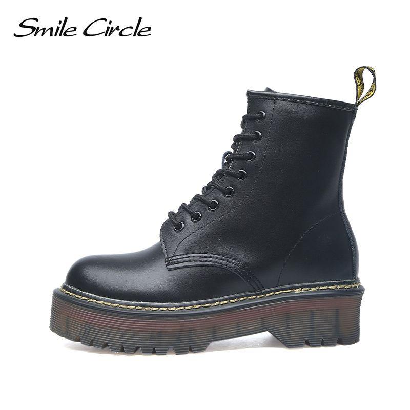 Sourire cercle taille 35-42 plate-forme bottes femmes chaussures automne hiver fourrure mode bout rond bottes en cuir à lacets dames chaussures
