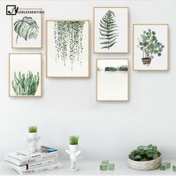 Aquarelle Feuilles Des Plantes Affiche Imprimer Paysage Mur Art Toile Peinture Image pour Salon Décor À La Maison Cactus Décoration
