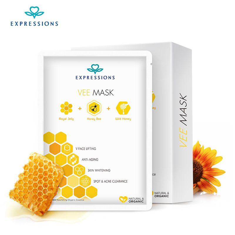 Masque visage coréen miel Vee masque hydratant masque Facial contrôle de l'huile blanchiment rétrécissement Pores soins de la peau cosmétiques-paquet de 5