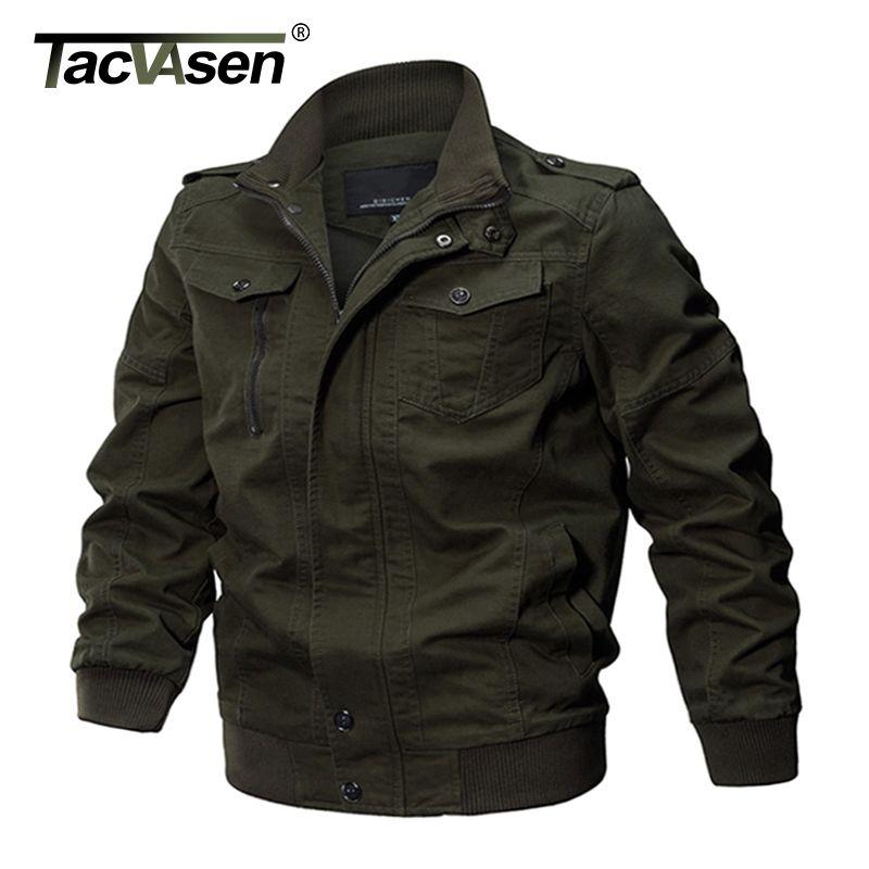 TACVASEN Military Jacket Men Winter Cotton Jacket Coat Army Men's Pilot Jackets Air Force Spring Cargo Jaqueta TD-QZQQ-009