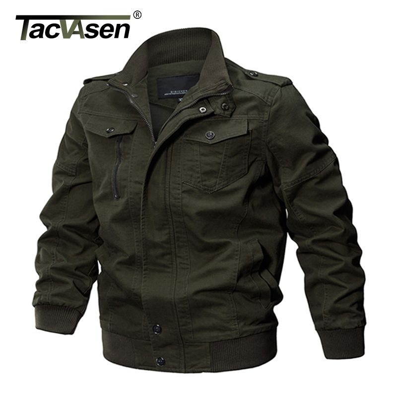 TACVASEN Military Jacket Men Winter Cotton Jacket Coat <font><b>Army</b></font> Men's Pilot Jacket Air Force Autumn Casual Cargo Jaqueta TD-QZQQ-009