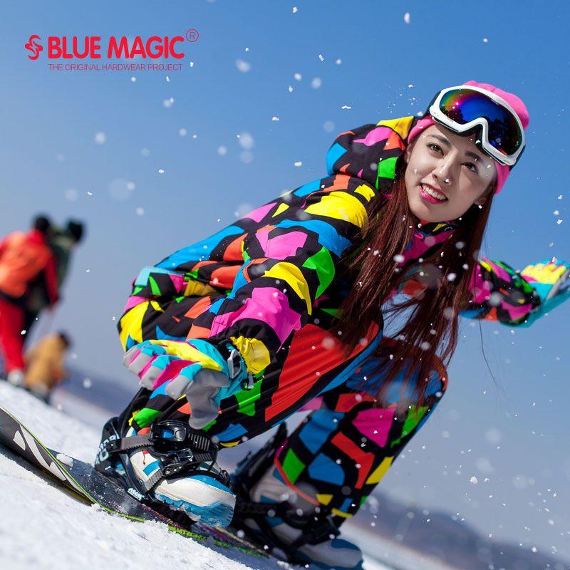 Blue magic wasserdicht snowboarden ein stück skifahren overall frauen snowboard-30 grad schnee skianzug Winter kleidung overall