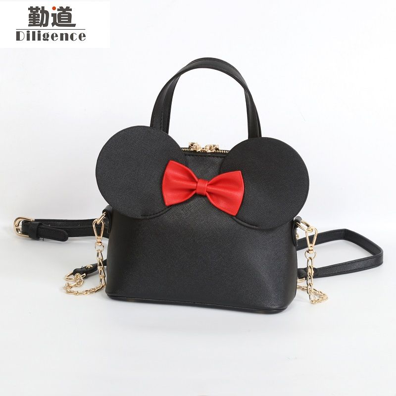 Fashion Handbags Pu Leather Women Shoulder Bag Mickey Big Ears Shell Sweet Bow Chains Crossbody Female Mini Small Messenger Bag