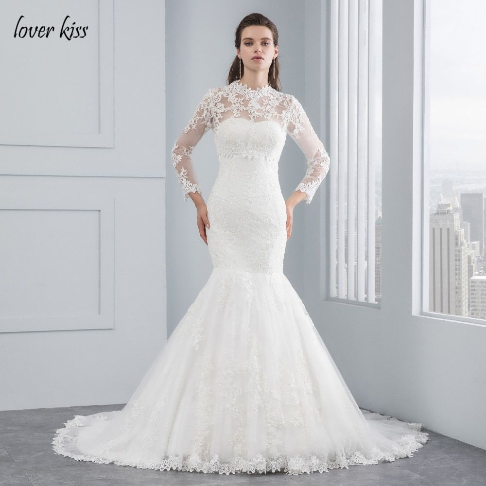 Lover Kiss Robe De Mariee 2018 White Lace Bride Gowns Long Sleeve Bodysuit Two Piece Strapless Mermaid Wedding Dress with Jacket