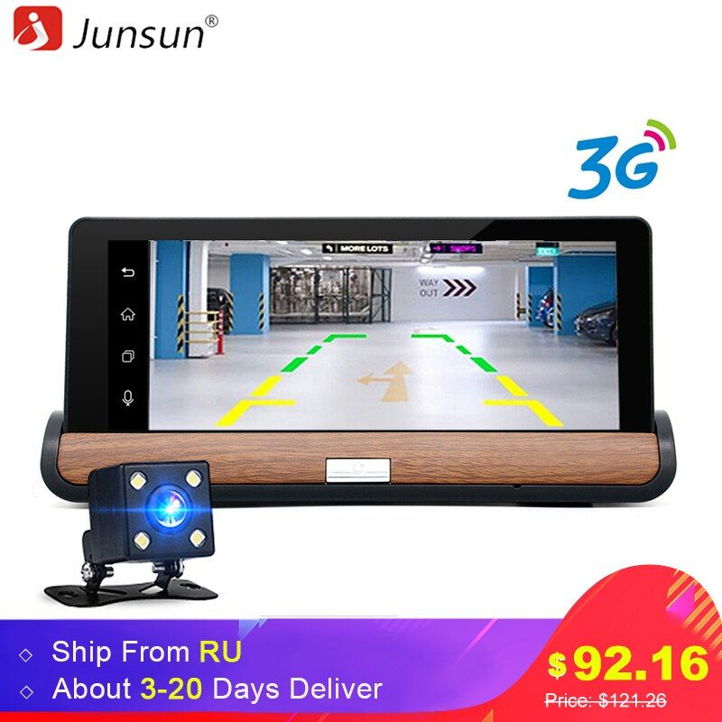 Junsun 3G 7 Car GPS DVR Camera Android 5.0 wifi Dual Lens Full HD <font><b>1080P</b></font> Video Recorder with Rear view Camera Automobile dashcam