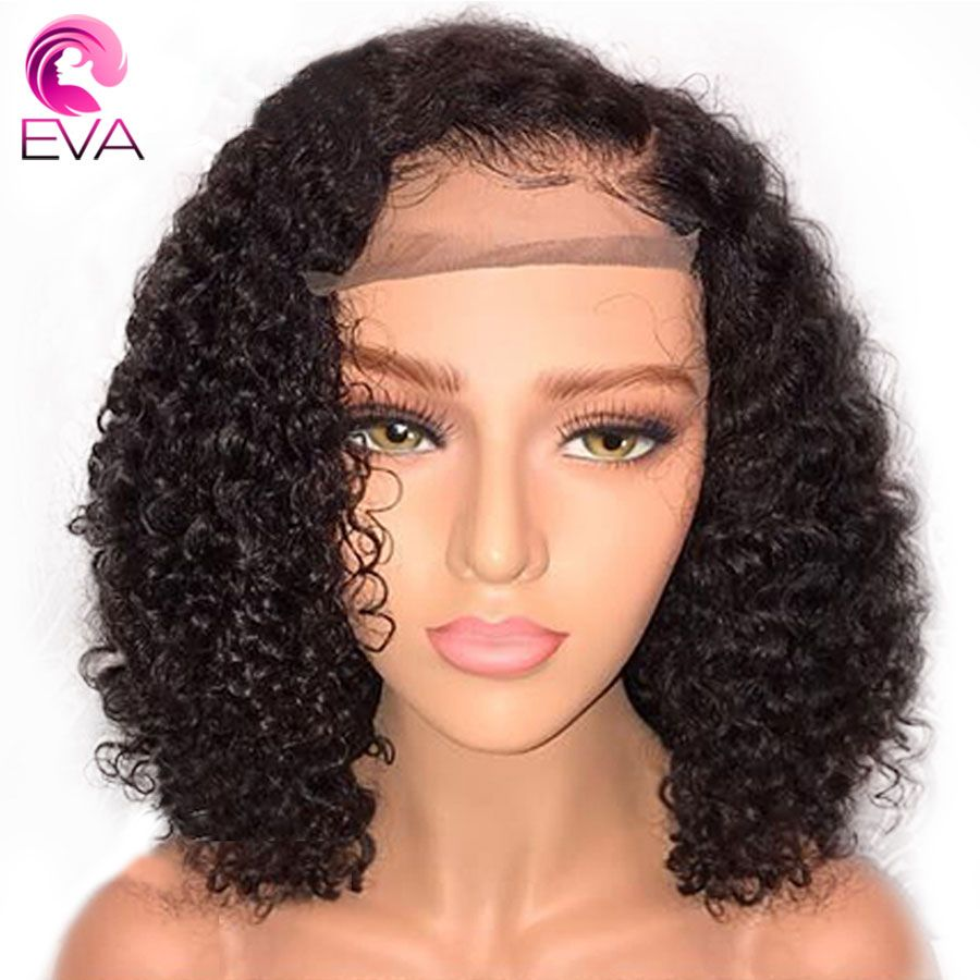 Eva Short Curly Lace Front Human Hair Wigs Pre Plucked With Baby Hair Brazilian Remy Hair Lace Front Bob Wigs For Black Women