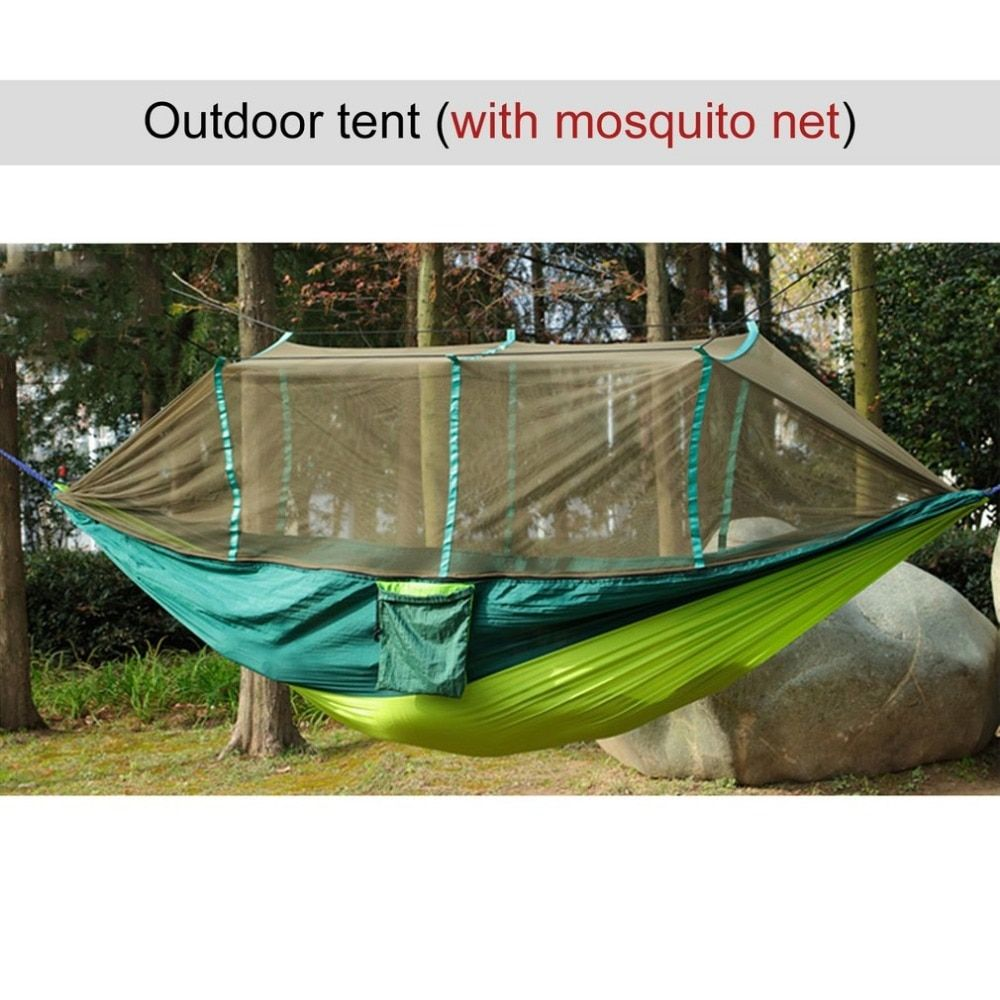Large Nylon Outdoor Hammock Parachute Cloth Fabric Portable Camping Hammock With Mosquito Nets for 1-2 Person 260cm*130cm