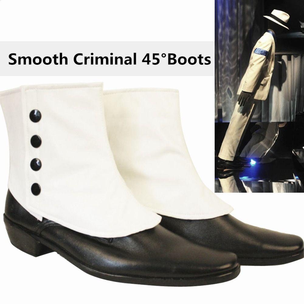 Seltene MJ Michael Jackson SMOOTH CRIMINAL Einfach 45 Grad Magie Erstaunliche Unvorstellbar Schiefen Schuhe Stiefel Zeigen Moonwalk 1990-1995 S