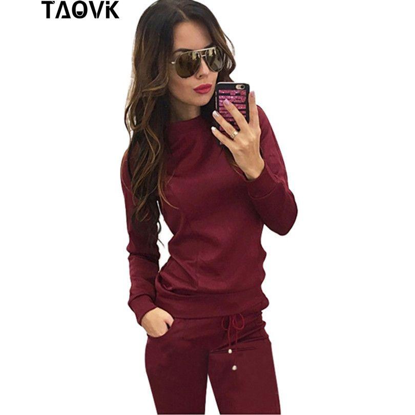 Taovk Новый стиль России Для женщин красное вино и абрикосового цвета, 2 из 2 предметов Толстовка + длинные брюки для отдыха костюмы