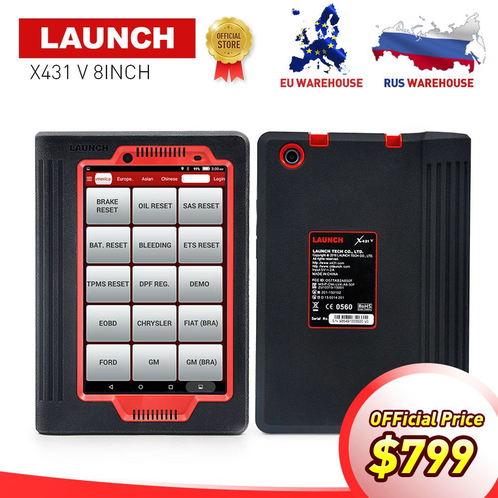 LAUNCH X431 V 8 inch Bluetooth/Wifi Full System Auto Diagnostic Tool X-431 V Car Scanner Online Update Same as X-431 PRO Tool