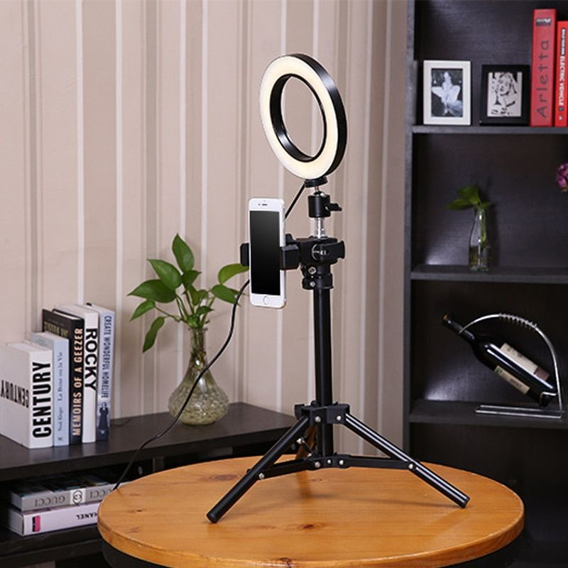 BePotofone Photo Studio Phone Video mini desktop table LED Ring Light 5500K 50cm height Photography Dimmable Makeup Ring Lamp
