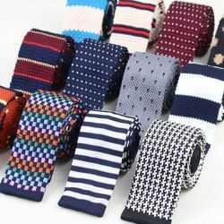 Men Knitted Knit Leisure Striped Ties Fashion Skinny Narrow Slim Neck Ties For Men Skinny Woven Designer Cravat No.1-20