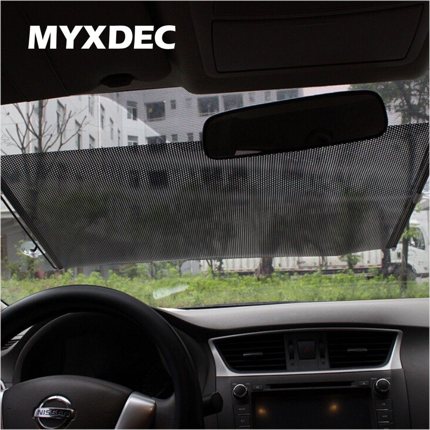 Auto Retractable Silver/Black UV Protection Front Windshield SunShade Car PullRoll Rear Rewinding Visor Cover Sunshield