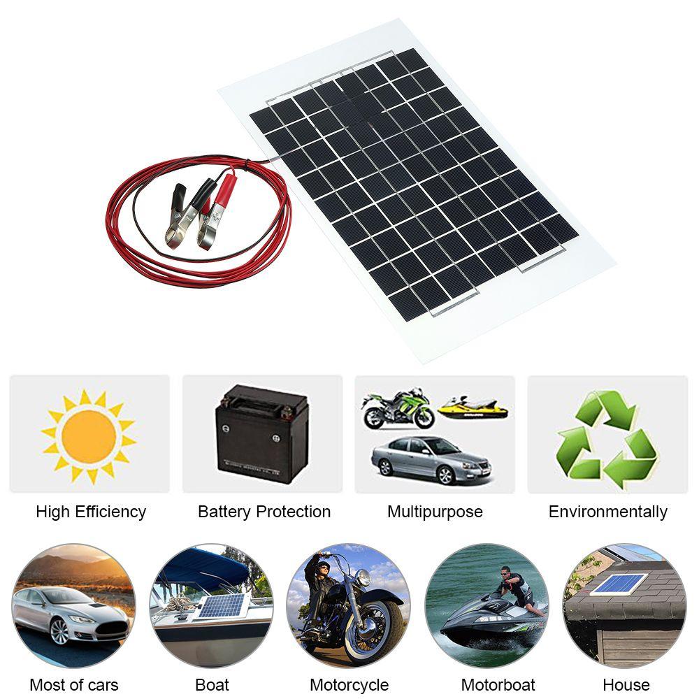 12V 10W 38 X 22 CM PolyCrystalline Transparent Epoxy Resin Solar Panel With Alligator Clip Wire Car Accessories Car Styling