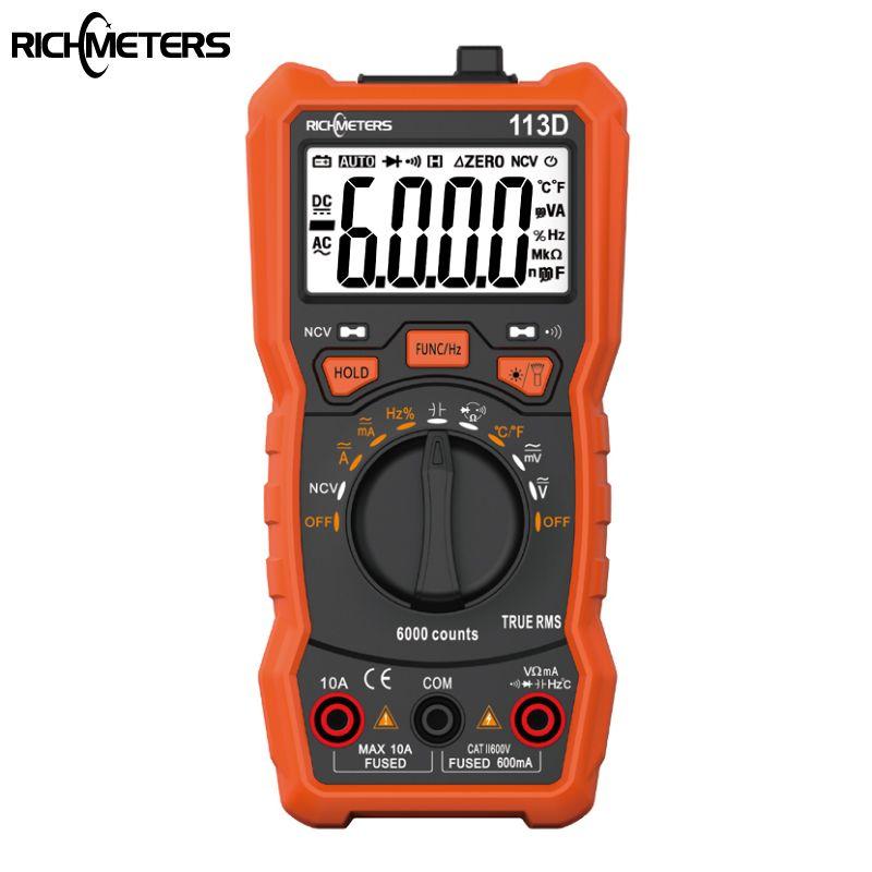 RICHMETERS RM113D NCV Numérique Multimètre 6000 compte Télémétrie Automatique AC/DC tension compteur Flash lumière Rétro-éclairage Grand Écran 113A/D