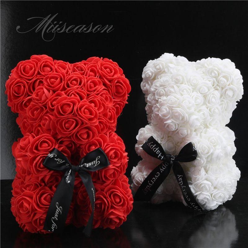 2019 Hot Sale 25cm Soap Foam Bear Roses Teddi Bear Rose Flower Artificial New Year Wedding Gifts Women Valentines Christmas Gift