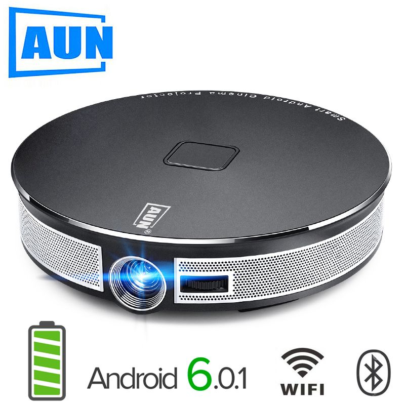 AUN 300 inch Projector,2G+16G, 12000mAH Battery, 1280x720 Resolution, D8S Android WIFI. Portable 3D LED MINI Projector. 1080P,4K