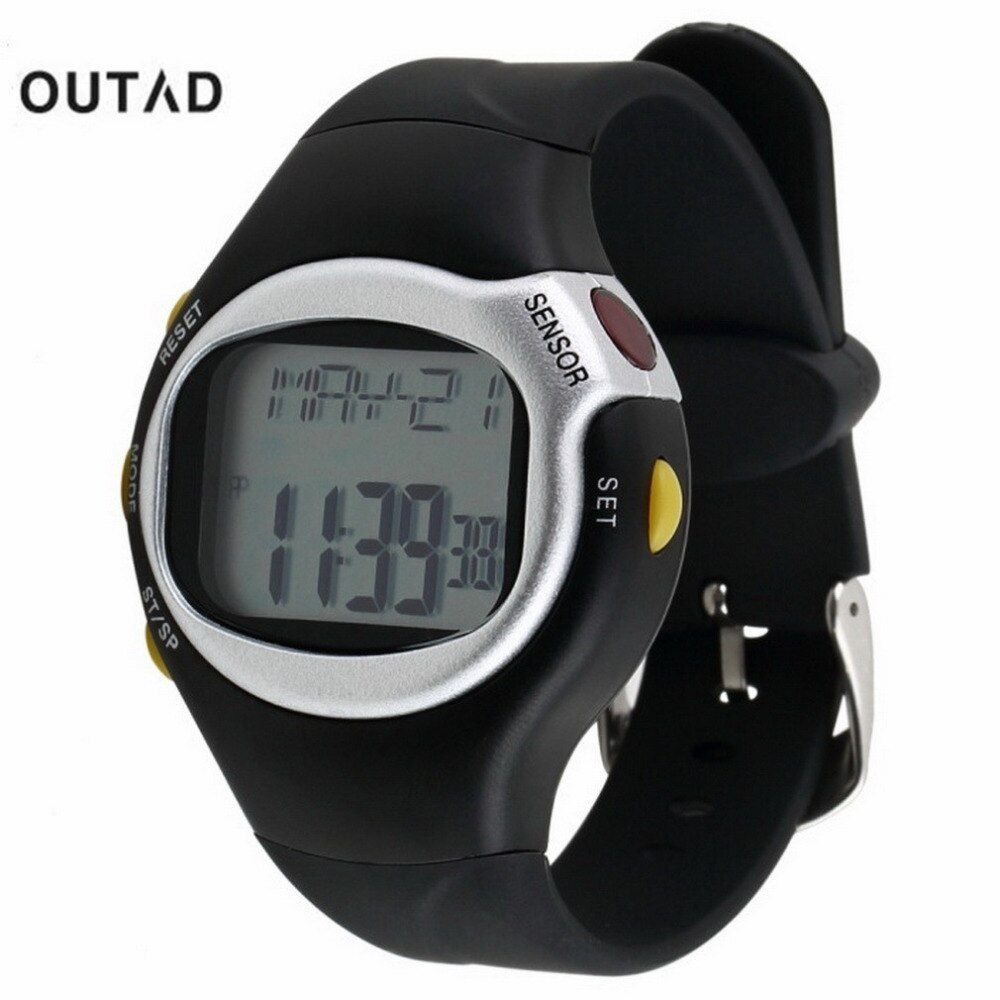 OUTAD Hombres Deportes Reloj Saat Negro Pulso Monitor de Ritmo Cardíaco Contador de Calorías 1 unids Calorie Counter Ejercicio Sensor Táctil digital