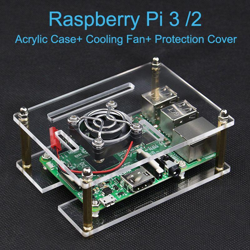 Raspberry Pi 3 Modèle B Acrylique Clear Case Boîtier disque Shell + Ventilateur de refroidissement + Housse De Protection pour Raspberry Pi 2 Modèle B