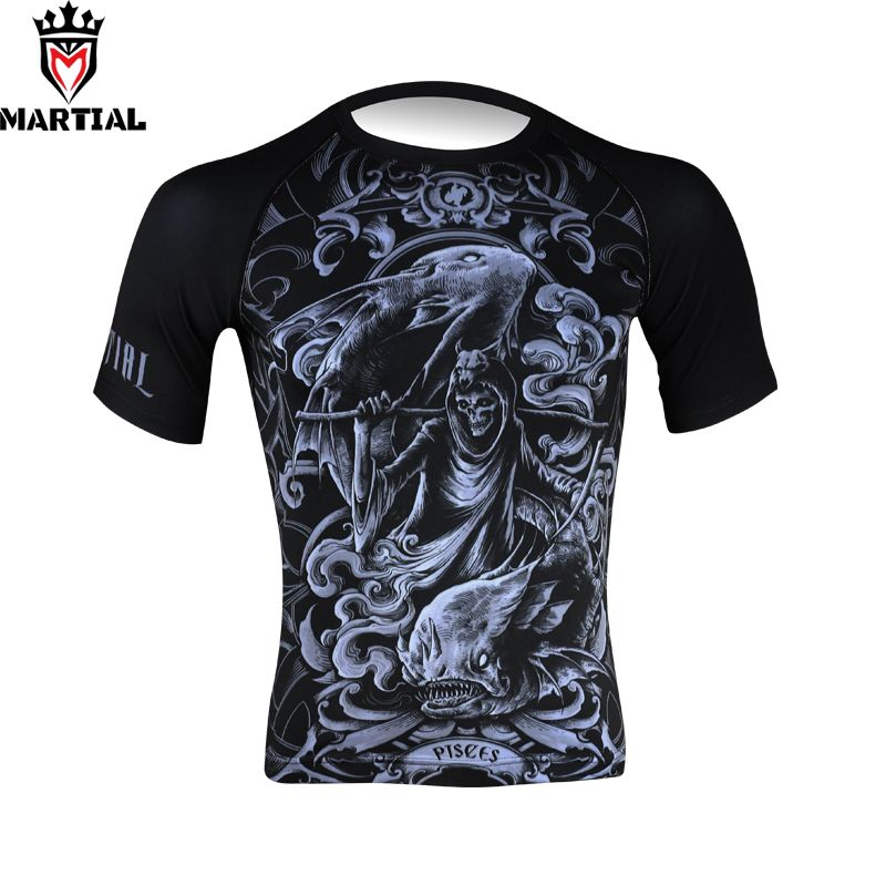 Martial : Pisces sublimated sports t shirt gym men qucik dry shirts mma clothing breathable plus size jersey