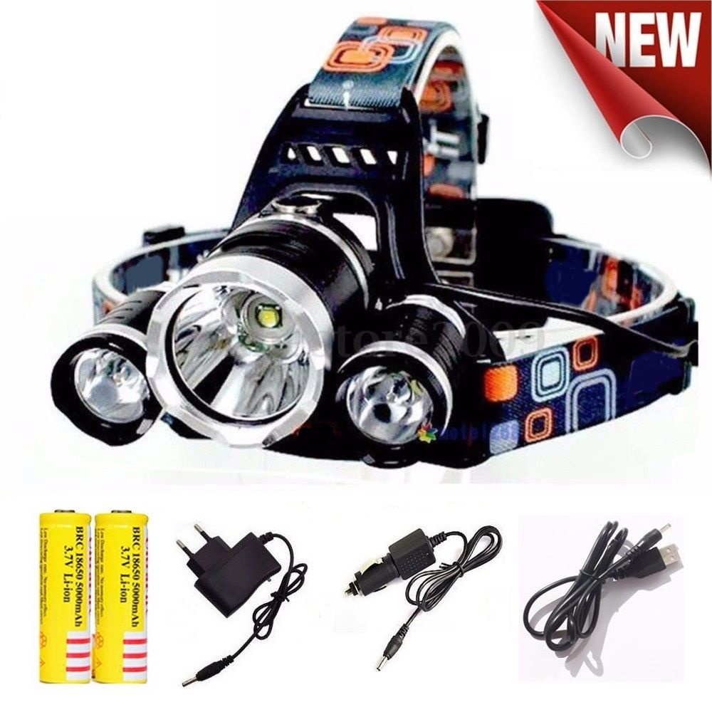 waterproof Headlight Led <font><b>rechargeable</b></font> 18650 headlamp 10000LM light head lamp 1T6+2R5 flashlight of fishing lantern head Torch